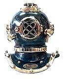 indofrance Casque de plongée scaphandrier. décoration Nautique de Bureau en cuivre Vieilli et Laiton, 17 cm, Lourde