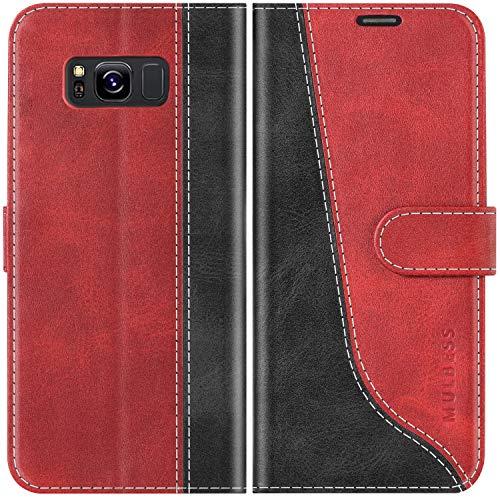 Mulbess Handyhülle für Samsung Galaxy S8 Hülle Leder, Samsung Galaxy S8 Handy Hüllen, Modisch Flip Handytasche Schutzhülle für Samsung Galaxy S8, Wine Rot
