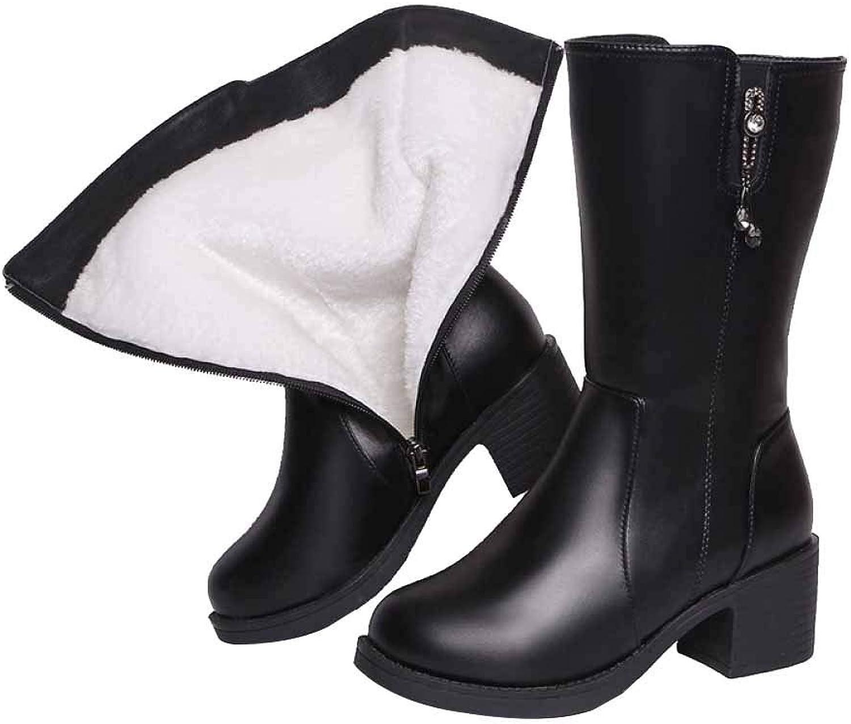 Damen Damen Martin Stiefel Herbst Und Winter Warm Plus Plus Samtlederstiefel Im Runden Kopf Mit Hochhackigen Schuhen  exklusiv