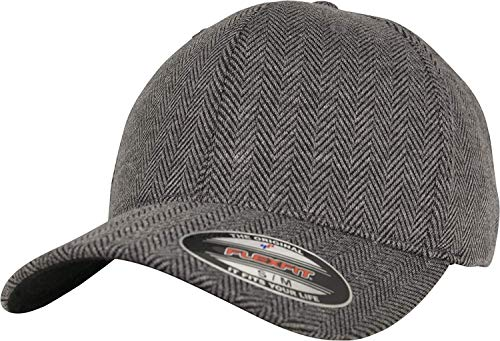 Flexfit Mütze Herringbone Melange Baseball Cap,Schwarz/grau,S/M