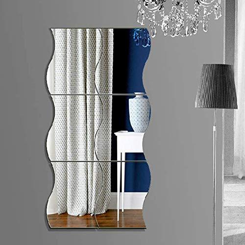 Mobiut Spiegel-Wandfliesen, 6 Stück, 30 x 25 Stück, flexible Spiegelblätter, gewellter Spiegel, selbstklebende Fliesen, Spiegelwand, Heim, Badezimmer, Dekoration