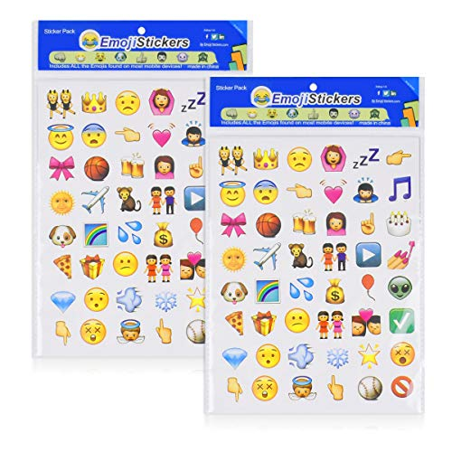 NOBBEE Emoji Sticker 8 Sheets Emoticon Stickers (1cm) Smiley Face Decorative Funny Faces from Facebook iPhone (2 cm Emoji Sticker)