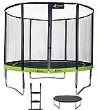 Kangui - Trampoline de Jardin Rond 305 cm + Filet de sécurité + échelle + bâche de Protection PUNCHI Vert 300