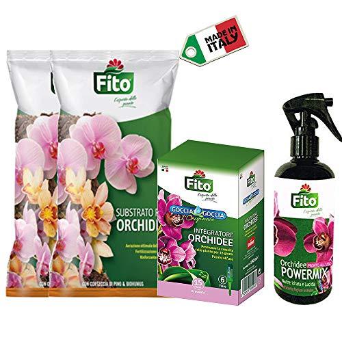Kit Orchidee con Terriccio Naturale 2 Litri, Concime Liquido Goccia a Goccia e Spray Idratante Fogliare| Ideale per Rinvaso, Concimazione e Idratazione| Soluzione Completa| Made in Italy