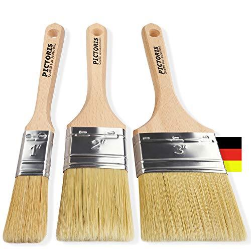 PICTORIS Lasurpinsel Set Premium | 100% Made in Germany | 3 handgefertigte Malerpinsel für Profis | Kunstfaser-Naturborsten-Mix für EIN perfektes Lasurergebnis | Kein Borstenverlust … (Tierhaare)
