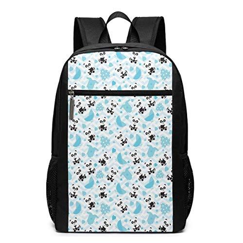 Schul-Laptop-Reise-Sport-Rucksack-Tasche, Baby-Chinese-Bears mit Kinderwagen und gepunkteten Herzen auf Chevron-Hintergrund, Casual Daypack für Busin/College, 17 '