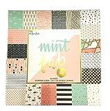 Mint a ser Fab, 12x 12gold-foiled, en relieve, papel para Scrapbooking, 60hojas, abstracto, plumas, flamencos, piña, oro