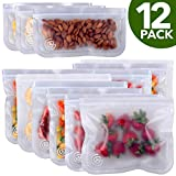 Greenzla Reusable Storage Bags (12-Pack) – Leakproof Reusable Ziplock Lunch Bags - Extra