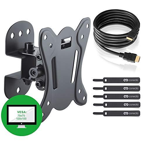 TV Wandhalterung für 13-27 Zoll (ca. 33-69cm) Flach & Curved LCD LED OLED Fernseher & TFT Monitor | Schwenkbar Neigbar | Wand Halter Fernseher Halterung | VESA 75x75 - 100x100 | Schwarz
