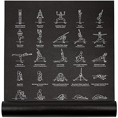 """Instructional Yoga Mat, Black - Printed w/ 70 Illustrated Poses, 24"""" Wide x 68"""" Long, for Women & Men : Non Slip, Eco Friendly PVC, Non Toxic : for Home or Gym : 5mm Thick NewMe Fitness"""