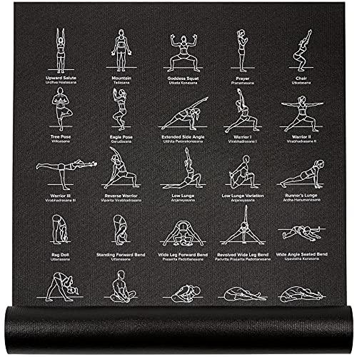 """NewMe Fitness Exercise Yoga Mat - Yoga Mat for Women - 24"""" Wide x 68"""" Long - Thin, Non-Slip Instructional Mats for Men & Women w/ 70 Printed Poses for Beginner - Black"""