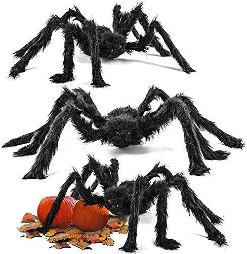 3 Arañas Grandes Espantosas - 75cm de Diametro, Flexibles - Perfectars para Fiestas de Halloween Accesorio, Decoración Tenebrosa y Divertida