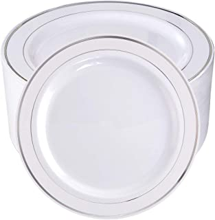 BUCLA 100Pieces Silver Rim Plastic Plates-7.5inch Silver Disposable Salad/Dessert Plates-Ideal for Weddings& Parties