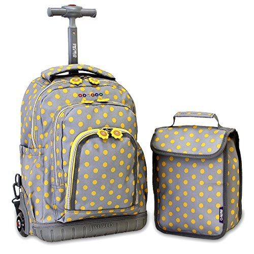 J World New York Kids' Lollipop Rolling Backpack & Lunch Bag Set, Candy Buttons, One Size