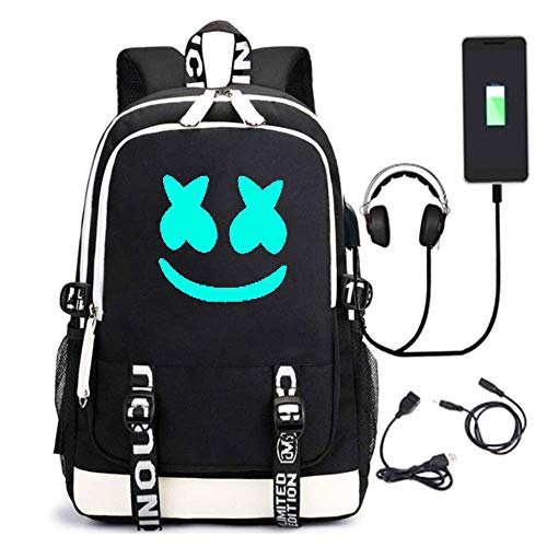 Marshmallow Backpack 3D Luminous School Bags Kids Boys DJ Marshmallow Music Rucksack Unisex Child Girls Women Laptop Backpacks Men Travel Rucksacks Cheap Bookbag with USB Charging Port  (Black1-y)