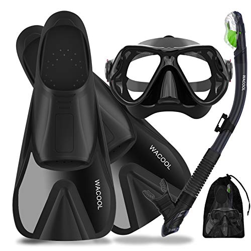 WACOOL Adults Snorkeling Snorkel Scuba Diving Package Set Gear with Travel Full Foot Short Swim Pocket Fins Anti-Fog Coated Glass Silicon Mouth Piece Purge Valve and Anti-Splash (Black,L)