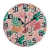 Reloj de Pared con flamencos, Hojas Tropicales, sandía, Rosa, Redondo, acrílico, Negro, números Grandes, silencioso, sin tictac, Reloj Decorativo, Retro, con Pilas, para la Biblioteca del Hotel de la