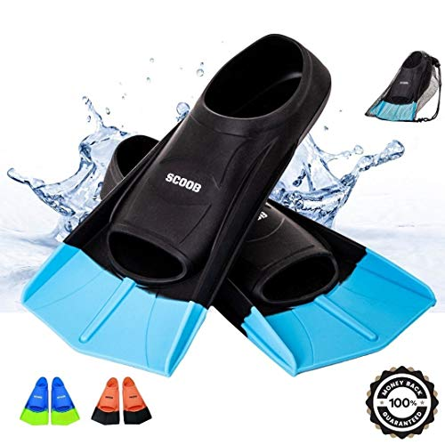 SCOOOB Aletas de natación para entrenamiento de natación, tamaño de viaje, hoja corta para buceo, actividades de piscina, hombres, mujeres, niños, nuevo diseño de moda de dos tonos bolsa de malla de viaje