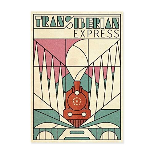 Trans siberian express, Transsibirische Eisenbahn, Sibirien, Russland, Zug, Berge, Travel Poster, Reise, Zugreise, Reiseplakat