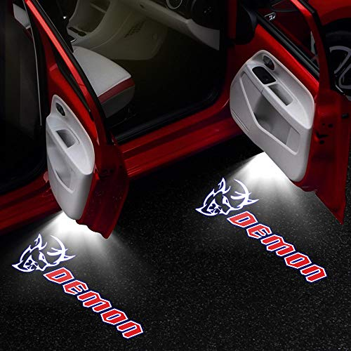 2-4 pcs HD Car Door Light LED for Dodge Challenger Demon SRT Charger Logo Insignia Shadow Courtesy Welcome Light 12V Car Tuning Car Door Light (Color : 2 Pieces, Emitting Color : Demon)