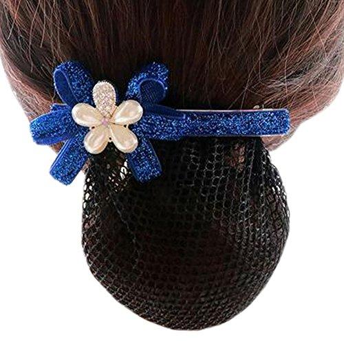 Ladies Bowtie Mesh Elastique Bun Couverture Hairnets Hair Snood, Fleur d'argent bleu marine, maille fine