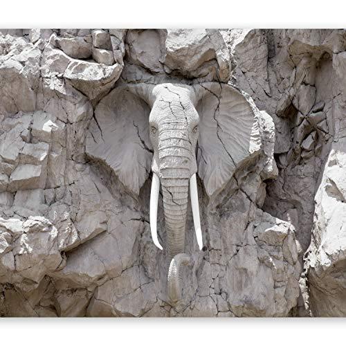murando Papier peint intissé 300x210 cm Décoration Murale XXL Poster Tableaux Muraux Tapisserie Photo Trompe l'oeil éléphant pierre g-B-0007-a-d