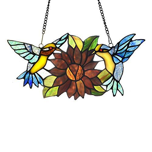 Capulina Tiffany - Pájaros de cristal tintado hecho a mano para colgar en la ventana, decoración de la casa de luz, pájaros en un alambre, vidrieras de cristal de tiffany,...