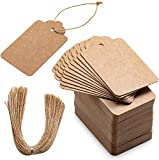 Primbeeks 200pcs Premium Gift Tags, Double-Sided Available Kraft Paper Price Tags with 200 Root Natural Jute Twine, Craft Tags Labels Treats Tags for Wedding Christmas Day Thanksgiving