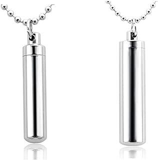 JOVIVI, ciondolo per catena in acciaio inox a forma di portapillole, capsula, ciondolo per catena, collana dell'amicizia
