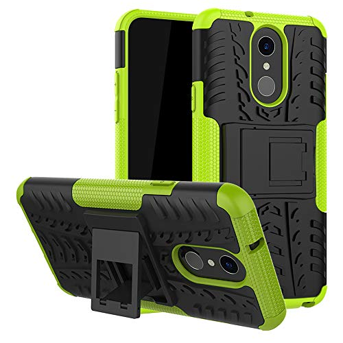 LFDZ LG Q7 Tasche, Hülle Abdeckung Cover schutzhülle Tough Strong Rugged Shock Proof Heavy Duty Hülle Für LG Q7 Smartphone (mit 4in1 Geschenk verpackt),Grüne