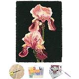 LCYZ Kit De Crochet, Alfombra De Flores Rojas, Kit De Hilo De Crochet Artesanal, Kit De Crochet De Costura, Alfombra De Crochet Sin Terminar,(52 * 38cm/20.4 * 14.9in),ZD158