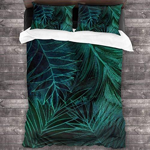 Juego de ropa de cama de 3 piezas con estampado tropical de la selva exótica, 2016 x 180 cm, funda de edredón súper suave y cálida, juego de cama Queen con 2 fundas de almohada