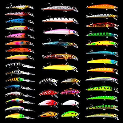 HENGJIA 43pcs Mixed Fishing Lures Set 3.7-7.9g Artificial Hard Bait Tackle Lifelike Pike Shad Lure for River Lake Minnow Crankbait Set002 from HENGJIA