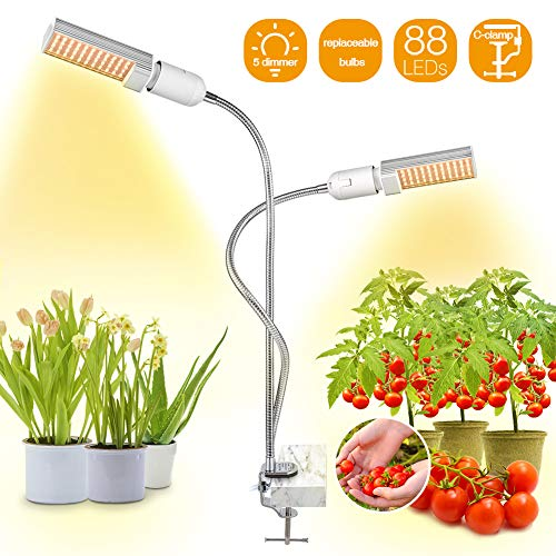 Bozily LED Grow Lights for Indoor Plants Full Spectrum,45W Dimmable Sunlike Plant Lights with Replace-able Bulbs,Professional Sunlight Grow Lamp for Seeds Starting Small House Plants Seedlings Growing