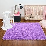 Ompaa Fluffy Rug, Super Soft Fuzzy Area Rugs for Bedroom Living Room - 3' x 5' Large Plush Furry Shag Rug - Kids Playroom Nursery Classroom Dining Room Decor Floor Carpet, Purple