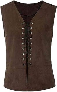 Macondoo Men Vintage Waistcoat Jacket Lace Up Medieval Steampunk Vest