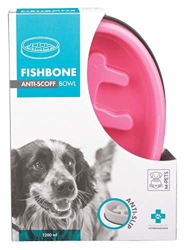 M-PETS Fishbone Slow Feed Bowl Oval Pink pour Chien Rose