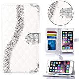 Portatil Style Diseño Funda cuadros metalizado con función de tarjeta de visita y brillantes en relieve Flip Cover Carcasa Funda Case Modern Bag para Apple iPhone 6en blanco