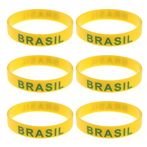 LUOEM Silikon Armbänder WM Flagge Fahne Brasilien Land Armband Fanartikel Fussball 2018 WM 6 Stücke Brazil
