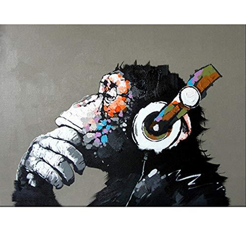 Pintura por números para Adultos Mono Escuchando Música DIY Pintura al óleo Kit con Pinceles y Pinturas regalo para decoración de casa (Sin Marco) 40x50 cm