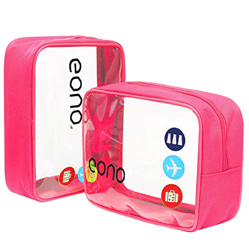 Eono by Amazon - Durchsichtiger Kulturbeutel, Clear Toiletry Bag, Kosmetiktasche für Koffer, Transparente Toilettentasche Unisex, Wasserfest Waschbeutel für die Dusche Organizer, Rosa, 2 Pcs