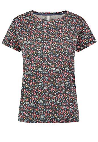 Sublevel Damen Baumwoll T-Shirt mit Blumen Print Muster Black XS