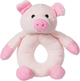 Apricot Lamb Baby Pig Soft Rattle Toy, Plush Stuffed Animal for Newborn Soft Hand Grip Shaker Over 0 Months ( Pig, 4 Inches)