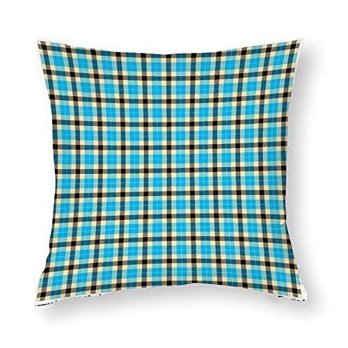 Art Fan-Design Fundas de almohada decorativas de poliéster a cuadros de tartán turquesa y negro, fundas de cojín de doble cara para cama, dormitorio, sofá, coche, silla de 45 x 45 cm