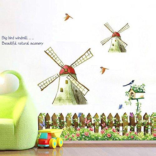 Wallpark Pastoral Windmühlen Blume Zaun Vögel Abnehmbare Wandsticker Wandtattoo, Wohnzimmer Schlafzimmer Haus Dekoration Klebstoff DIY Kunst Wandaufkleber
