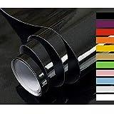 Hode Papel Adhesivo para Muebles Vinilos Adhesivo para Muebles Puertas Ventanas Pegatina de Vinilo Adhesivo Muebles Negro 40X300cm