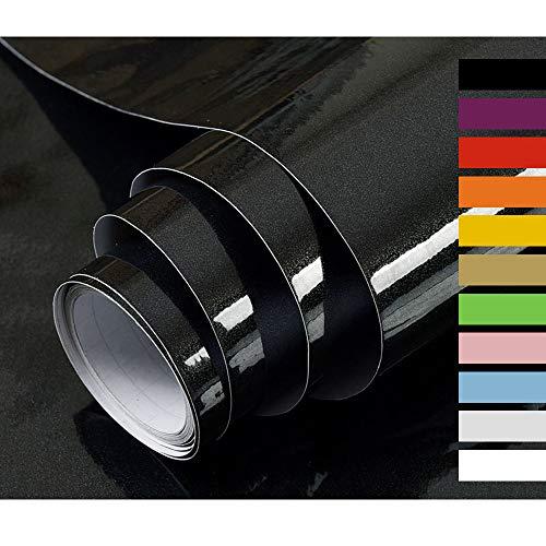 Hode Klebefolie Möbel Selbstklebende Möbelfolie Folie Oberflächenschutz für Küche Wasserdicht Vinyl 40cmX300cm Schwarz Dekorfolie Hochglanz Mit Glitzerpartikel Effekt