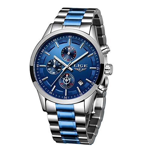 LIGE,Relojes Hombre Relojes de Pulsera Cronografo Diseñador Impermeable Reloj Hombre de Acero Inoxidable Analogicos Fecha