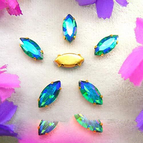 AB colores configuración de garra dorada 8 tamaños ojo de caballo Marquise cristal coser en cuentas de diamantes de imitación accesorios de ropa diy