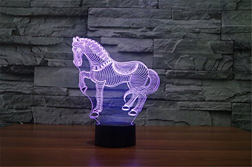 TRADE® Gut aussehend Krieg Pferde 3D Illusionseffekt 7 Farben USB-betriebene LED-Tischlampe Nachtlicht für Kinder Wohnzimmer Dekor Wohnzimmer Schlafzimmer